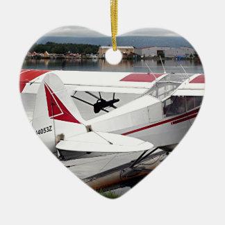 Float plane 19, Lake Hood 47 Alaska1 437 e sh30 30 Ceramic Heart Decoration