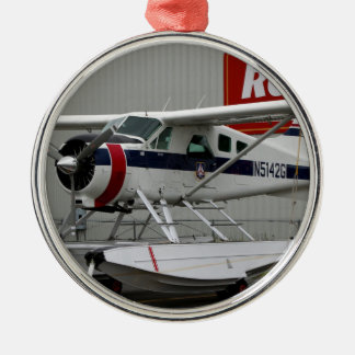 Float plane 24, Lake Hood, Alaska Silver-Colored Round Decoration