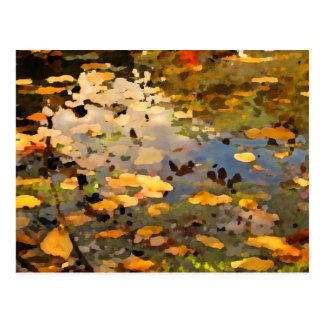 Floating Autumn Leaves Abstract Postcard