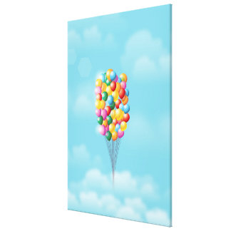 Floating Balloons up and away. Canvas Print