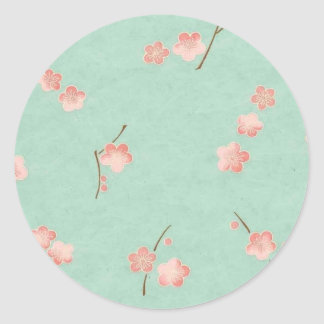 Floating Blossoms on Aqua Classic Round Sticker
