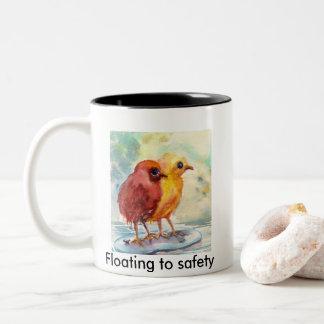 Floating chicks Two-Tone coffee mug