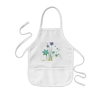 Floating Colored Snowflakes and Grass Kids Apron