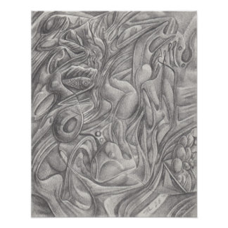 Floating down the Stream- abstract pencil drawing Poster