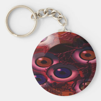 floating eyeballz basic round button key ring