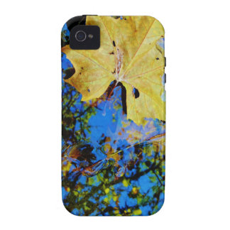 floating fall leaf with reflection of blue sky vibe iPhone 4 covers