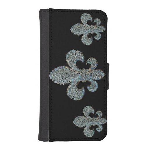 Floating Fleur de Lis Print iPhone 5 Wallet