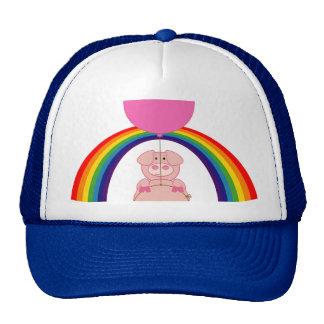 floating flying pig over the rainbow cap