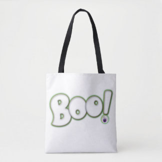 Floating Ghost BOO Lettering with Bloodshot Eye Tote Bag