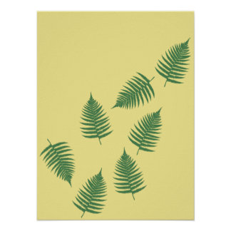 Floating Green Fern Leaves Stylish Abstract Poster