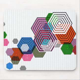 Floating Hexagons Mouse Pad