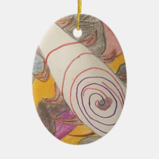Floating in The Rainbow Void Ceramic Oval Decoration