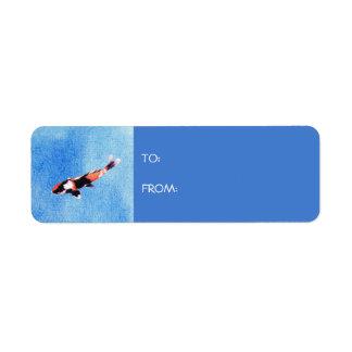 Floating Koi blue Gift Tag Label Return Address Label