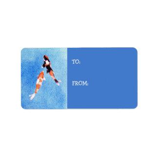 Floating Koi blue Gift Tag Label Address Label