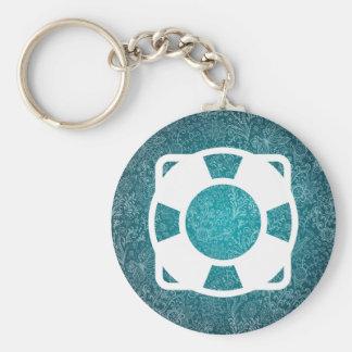 Floating Lifesavers Symbol Basic Round Button Key Ring