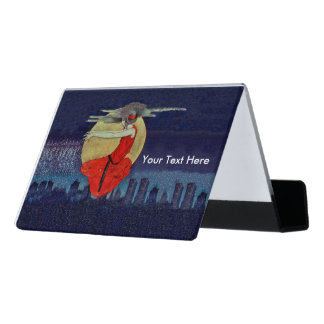 Floating Magical Lady Red Dress Moon City Skyline Desk Business Card Holder