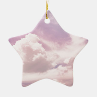 Floating on Fluffy Purple Clouds Ceramic Ornament