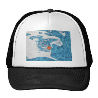 Floating Orange Spring  Flower in Blue Water Mesh Hats
