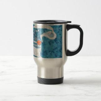 Floating Orange Spring  Flower in Blue Water Mug