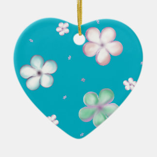 Floating Pastel Bubble Flowers Ceramic Heart Ornament