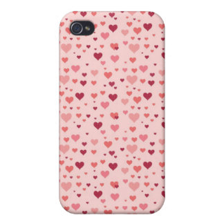Floating Pink Hearts Valentine s Day Pattern iPhone 4/4S Covers