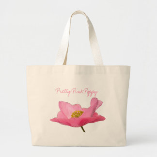 Floating Pink Poppy Close-up Large Tote Bag