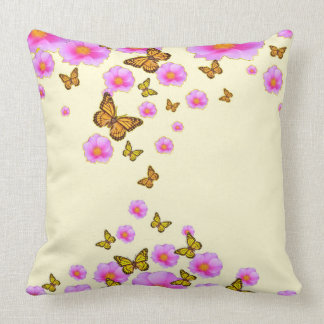 FLOATING PINK ROSES MONARCH BUTTERFLIES ART CUSHION