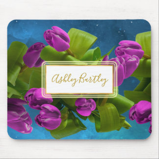 Floating Purple Tulips in Outer Space Mouse Pad