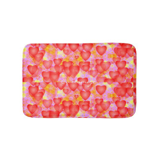 floating red hearts pattern bath mat