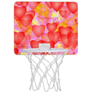 floating red hearts pattern mini basketball hoop