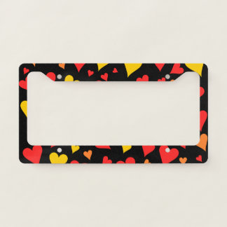 Floating Red, Orange and Yellow Hearts Pattern Licence Plate Frame