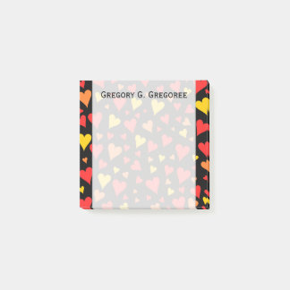 Floating Red, Orange and Yellow Hearts Pattern Post-it® Notes