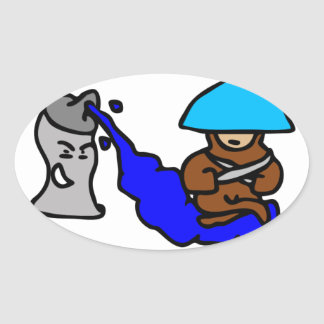 Floating Spray Paint Guy Oval Sticker