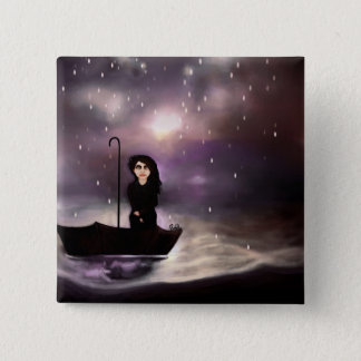 Floating through a coloured perfect world. 15 cm square badge