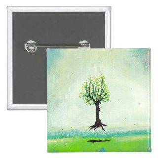 Floating tree colorful modern art In Motion Simple 15 Cm Square Badge