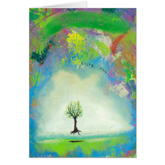 Floating tree colorful modern art In Motion Simple Card