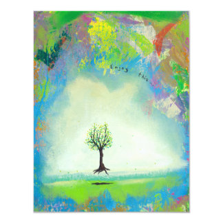 """Floating tree colorful modern art In Motion Simple 4.25"""" X 5.5"""" Invitation Card"""