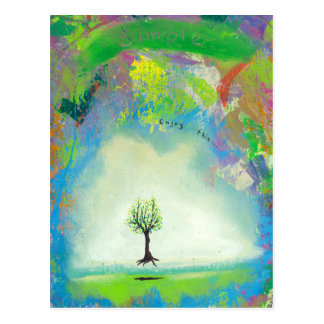 Floating tree colorful modern art In Motion Simple Postcard