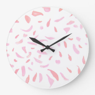 Floating Watercolour Pink Petals Wall Clock