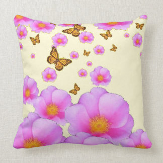 FLOATING WILD PINK ROSES MONARCH BUTTERFLIES ART CUSHION