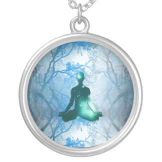 Floating Yogi in the Trees (blue) Round Pendant Necklace