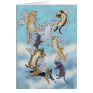 Flock of Angel Cats Card
