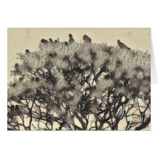 Flock of birds in a tree card
