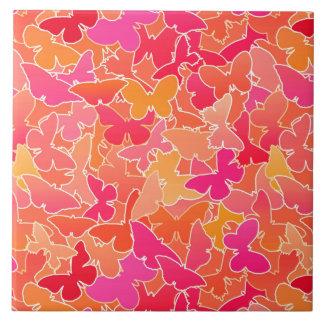 Flock of Butterflies, Fuchsia Pink & Coral Orange Ceramic Tile