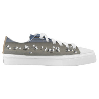 Flock of Chatty Seagulls on the Sand  Low Tops Printed Shoes