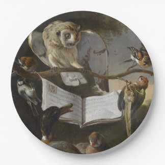 Flock of musical birds painting 9 inch paper plate