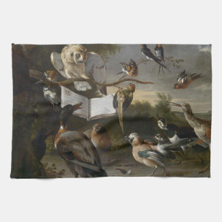 Flock of musical birds painting hand towel