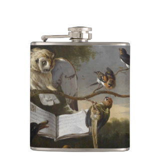 Flock of musical birds painting hip flask