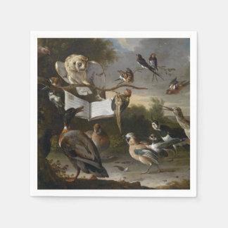 Flock of musical birds painting paper serviettes