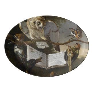 Flock of musical birds painting porcelain serving platter